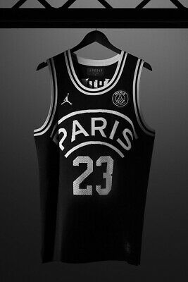 58c27a0fb97 JORDAN X PSG Flight Knit Basketball Jersey Paris Saint-Germain Black ...