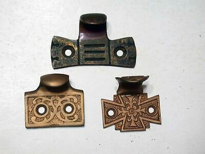 3 Window Sash Lifts in Mixed Patterns Antique Victorian Era, All Cast Bronze