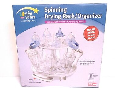 NEW The First Years Spinning Adjustable Drying Rack Baby Bottle Nipple Organizer