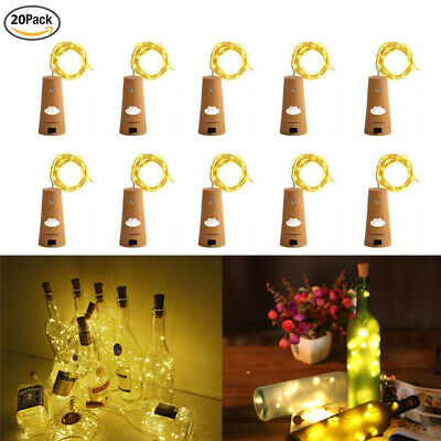 20x 2m 20LED Wine Bottle Cork String Fairy Night Lights Starry Warm White LD1732