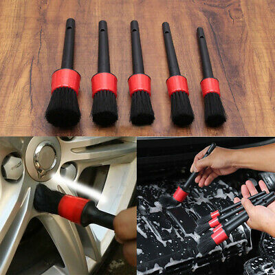 5 x Natural Boar Hair Detail Brush Set Automotive Detailing For Car Cleaning UK