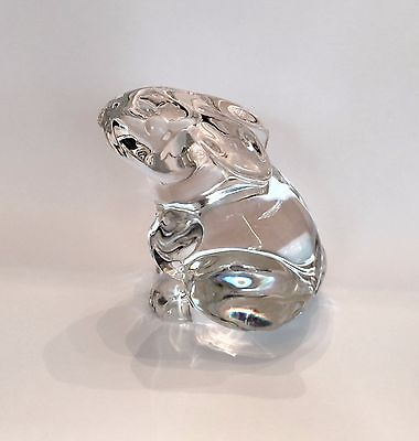 BACCARAT Clear Crystal Seated BUNNY RABBIT Figurine PAPERWEIGHT NOS France Glass