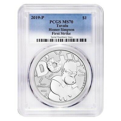 2019 1 oz Tuvalu Homer Simpson Silver Coin PCGS MS 70 First Strike