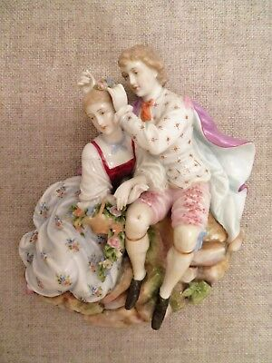"ANTIQUE German Dresden Porcelain couple figurine wall 9""x9"" plaque decor hanging"