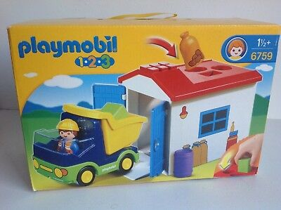 Playmobil 123 Set 6759 Truck Garage With Shape Sorter Function New