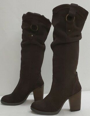 a83c0be90b6 STEVE MADDEN GAMBBLER ladies womens brown suede ruched boots Size 5.5 M EU  38