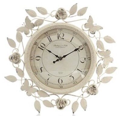 Cream Rose Flowers & Butterflies Metal Wall Clock 37cm Vintage Shabby Chic