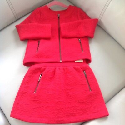 Lili Gaufrette Girls Red Embossed Cardigan And Skirt Age 5Y