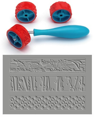 Xiem CLAY PATTERN & TEXTURE ROLLER Set A, Art Roller Mini, Rubber Silicon Roller