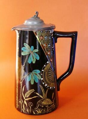 """Aesthetic movement Gibson & Sons C1890 hand enameled """"Palm"""" pitcher pewter lid"""