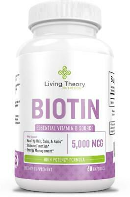 High Potency Pure Biotin 5000 mcg for Hair Growth (5mg) - 60 Count