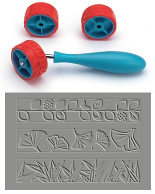 Xiem CLAY PATTERN & TEXTURE ROLLER Set B, Art Roller Mini, Rubber Silicon Roller