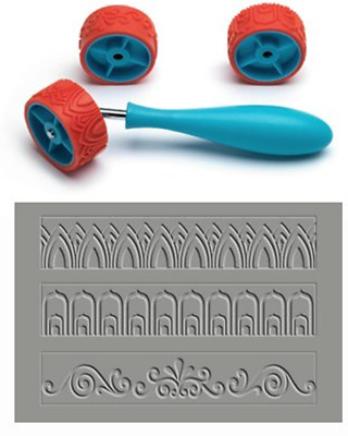 Xiem CLAY PATTERN & TEXTURE ROLLER Set C, Art Roller Mini, Rubber Silicon Roller