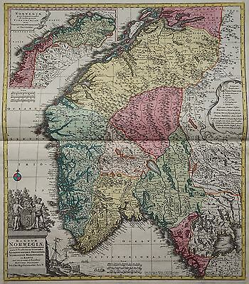 Norwegen - Regnum Norwegiae - Seutter 1740 - Rare map of Norway