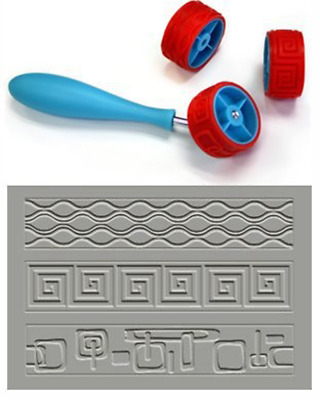 Xiem CLAY PATTERN & TEXTURE ROLLER Set D, Art Roller Mini, Rubber Silicon Roller