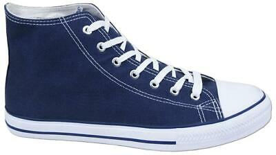 Mens New Lace Up Blue Canvas Hi-Top Baseball Ankle Boots Trainers