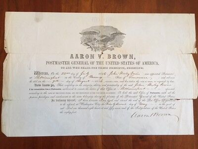 SIGNED 1856 Aaron Brown, US Postmaster General Appointment, TENNESSEE Governor