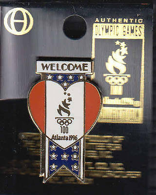 Rare Pins Pin's .. Olympique Olympic Jeux Atlanta 1996 Welcome Coeur Usa 100 ~16