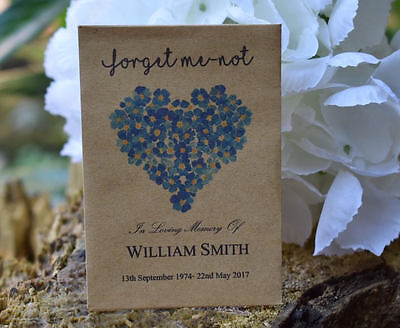 50 Funeral Favour Personalised Seed Packets|Forget Me-not Remembrance (unfilled)