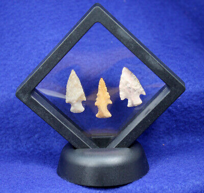 """A Great """"Group of 3 Bird Points"""" Authentic Prehistoric Artifact Arrowhead"""