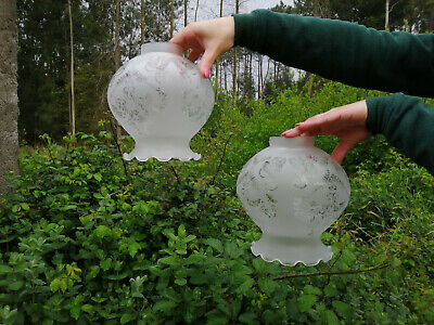 """Pair of antique globe shaped, frost glass lamp shades, crimped edge 6.7"""" dia."""