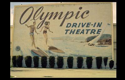 Vintage Olympic Drive-In Movie Theater PHOTO 1970s Classic Screen California