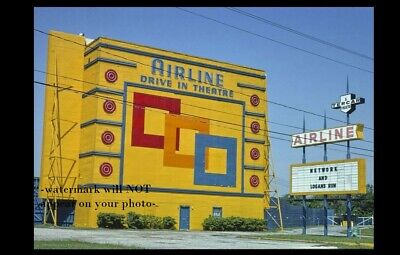 Vintage Airline Drive-In Movie Theater PHOTO 1970s Classic Screen Texas