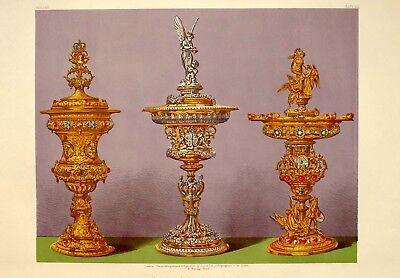 Large 1862 Exhibition Print Silver Vases By Garrard & Co London