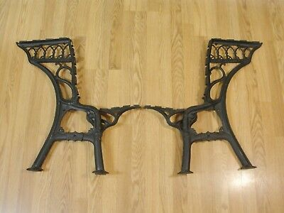 Set 2 VTG Antique Cast Iron School Desk Ends Grand Rapids S.F. Co pat Sept 1885)