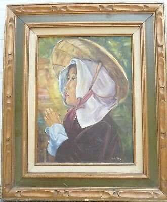 Vintage Signed Vel Day Framed Oil Painting Portrait of Asian Woman in Hat