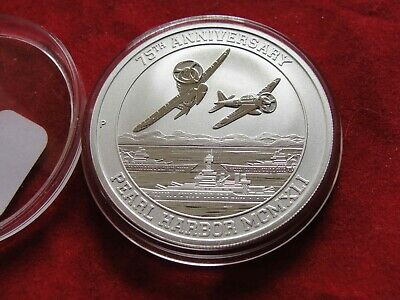 2016 $1 PEARL HARBOR 75th ANNIVERSARY 1 OZ. 9999 PURE SILVER COIN WITH CAPSULE