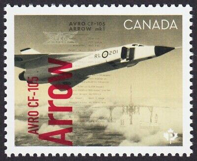 Avro Canada CF-105 ARROW = FIGHTER JET = stamp from Minisheet MNH-VF Canada 2019