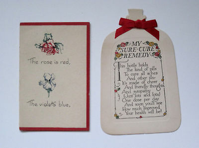 TWO OLD Greeting Cards 1 Hand Made & 1 Get Well Shaped Like Medicine Bottle