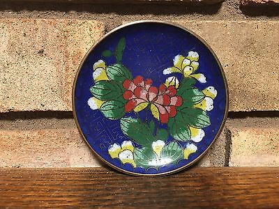 Oriental Antique Old Asian Chinese Cloisonne Enamel Floral Tray Pin Dish China !