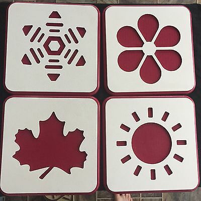 Set 4 Red White All Seasons Of The Year Plaques Signs Display Advertising Durabl