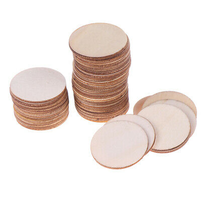 50x DIY Natural Blank Wood Pieces Slice Round Unfinished Crafts Wooden Discs RG