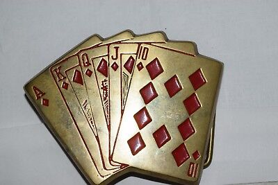 Royal Flush Diamonds Cards Poker Solid Brass Vintage Belt Buckle Baron Buckles