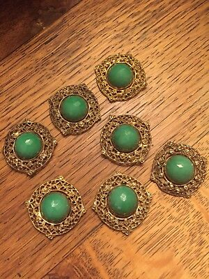 Lot Of 7 Antique Jade Glass And Brass Filigree Buttons Victorian Czech