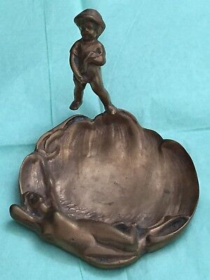 VTG Rare Old Antique Metal Sculptured Art NUDE LADY YOUNG BOY Dish Plate Ashtray
