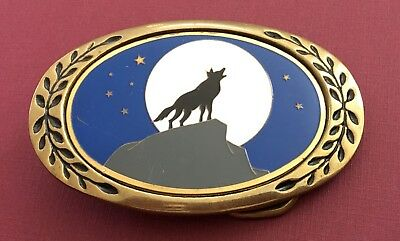 VTG **HOWLING WOLF OR COYOTE, MOON, STARS & SKY** Southwest Brass BELT BUCKLE