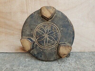 Old Original Rare Primitive Handmade Flower Carved Wooden Chapati Rolling Board