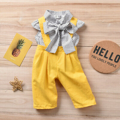 2PCS Toddler Kids Baby Girl Summer Clothes Dot Tops+Pants Overall Outfits AU
