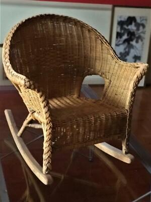 Vintage Natural Wicker Child's Rocking Chair