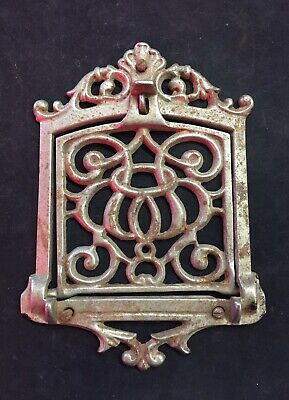 Antique VENT COVER CAST IRON Quick Meal Stove Plate Rare Display Trivet