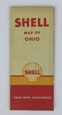Vintage Shell Oil Co. Ohio Road Map Tour with Confidence from Late 1940's