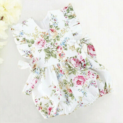 AU Baby Girls Fly Sleeve Romper Bodysuit Jumpsuit Infant Floral Outfits Clothes