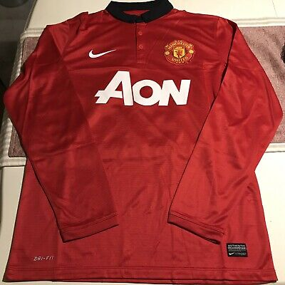 a97450b38f1 Nike Manchester United Football Soccer Jersey Red Long Sleeve Size Medium