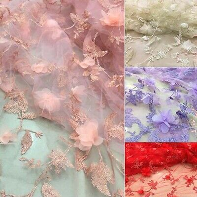 """1 Yard 3D Flower Embroidery Tulle Mesh Bridal Dress Lace Fabric 51"""" Width"""