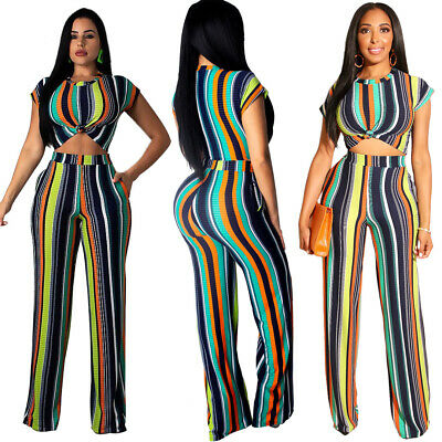 Women short sleeves colorful stripes casual club party jumpsuit pants set 2pc