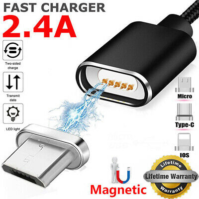 1M 2.4A Micro USB Charging Cable Magnetic Adapter Charger For Samsung LG Android